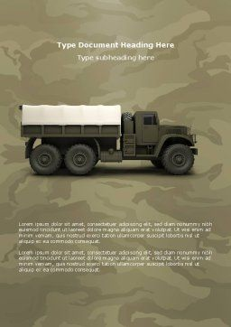 Military Truck Word Template, Cover Page, 02962, Military — PoweredTemplate.com