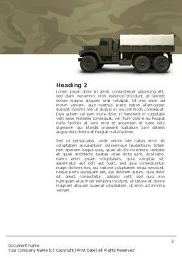 Military Truck Word Template, Second Inner Page, 02962, Military — PoweredTemplate.com