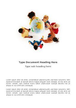 Kids Around Globe Word Template, Cover Page, 02989, Education & Training — PoweredTemplate.com