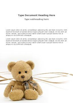 Teddy Bear On A White Background Word Template, Cover Page, 02999, Holiday/Special Occasion — PoweredTemplate.com