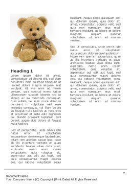 Teddy Bear On A White Background Word Template, First Inner Page, 02999, Holiday/Special Occasion — PoweredTemplate.com