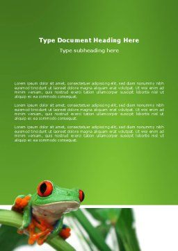 Toad Word Template, Cover Page, 03024, Agriculture and Animals — PoweredTemplate.com