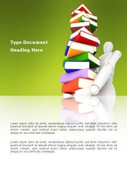 Books Stack In Hands Word Template, Cover Page, 03029, Education & Training — PoweredTemplate.com