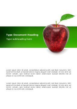 Red Apple Word Template, Cover Page, 03041, Agriculture and Animals — PoweredTemplate.com