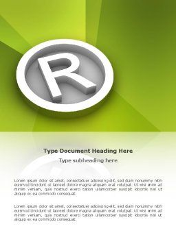 Registered Trademark Word Template, Cover Page, 03046, Legal — PoweredTemplate.com