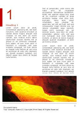 Volcano Lava Word Template First Inner Page