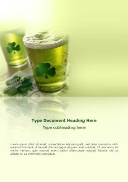St Patrick's Day Word Template, Cover Page, 03051, Food & Beverage — PoweredTemplate.com