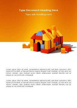 Color Bricks Word Template, Cover Page, 03056, Construction — PoweredTemplate.com