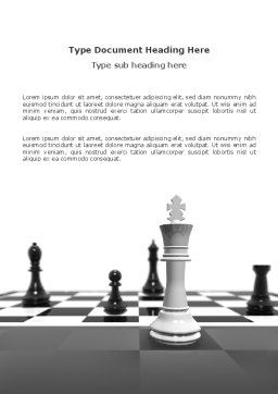 Chess White Begin And Win Word Template, Cover Page, 03069, Business Concepts — PoweredTemplate.com