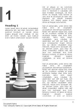 Chess White Begin And Win Word Template, First Inner Page, 03069, Business Concepts — PoweredTemplate.com