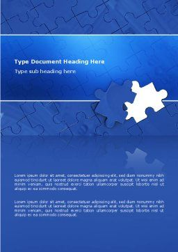 Blue Jigsaw Word Template, Cover Page, 03070, Business Concepts — PoweredTemplate.com