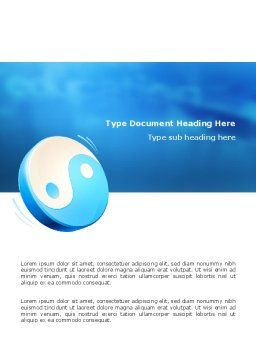 Blue Yin Yang Word Template Cover Page