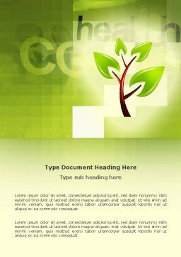 Green Health Word Template, Cover Page, 03083, Nature & Environment — PoweredTemplate.com