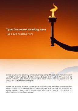 Olympic Torch Word Template, Cover Page, 03087, Sports — PoweredTemplate.com