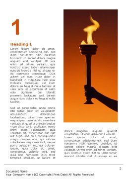 Olympic Torch Word Template, First Inner Page, 03087, Sports — PoweredTemplate.com