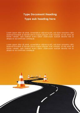 Road Work Word Template, Cover Page, 03104, Cars/Transportation — PoweredTemplate.com