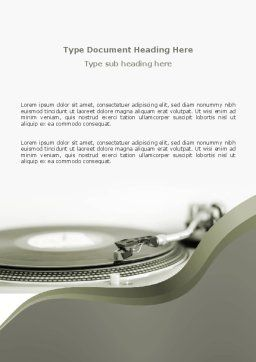 Record Player Word Template Cover Page