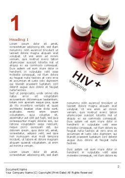 HIV Vaccine Word Template, First Inner Page, 03125, Medical — PoweredTemplate.com