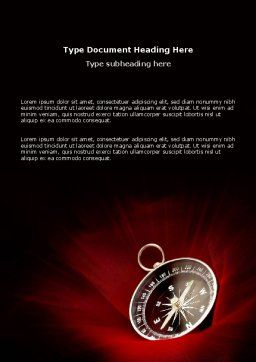 Compass In A Dark Red Velvet Word Template, Cover Page, 03130, Business Concepts — PoweredTemplate.com