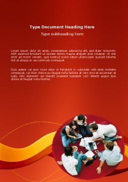 Young Team Work Word Template Cover Page