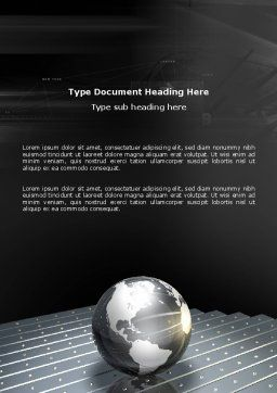 Globe Of Steel Word Template, Cover Page, 03141, Global — PoweredTemplate.com
