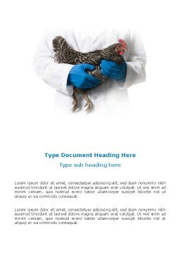 Hen Word Template, Cover Page, 03147, Agriculture and Animals — PoweredTemplate.com