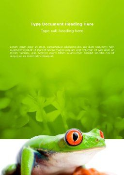 Tropical Green Frog Word Template, Cover Page, 03160, Agriculture and Animals — PoweredTemplate.com