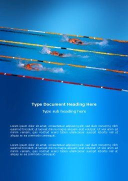 Swimming Competition Word Template, Cover Page, 03168, Sports — PoweredTemplate.com