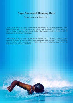 Swimming Word Template, Cover Page, 03186, Construction — PoweredTemplate.com