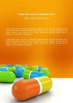 Colored Pills Word Template, Cover Page, 03191, Medical — PoweredTemplate.com