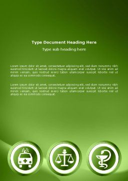 Signs Of Medicine In A Green Colors Word Template, Cover Page, 03195, Medical — PoweredTemplate.com