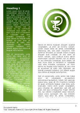 Signs Of Medicine In A Green Colors Word Template, First Inner Page, 03195, Medical — PoweredTemplate.com