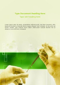 Chemical And Biology Tests Word Template, Cover Page, 03204, Medical — PoweredTemplate.com