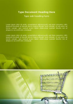Shopping Cart On Olive Background Word Template Cover Page
