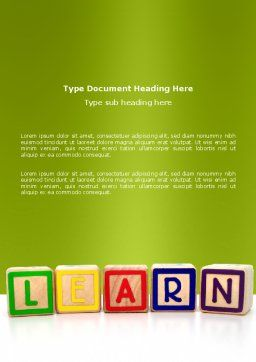 Learning Cubes Word Template, Cover Page, 03216, Education & Training — PoweredTemplate.com