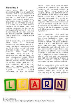 Learning Cubes Word Template, First Inner Page, 03216, Education & Training — PoweredTemplate.com