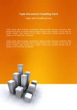 Downtown Word Template, Cover Page, 03217, Construction — PoweredTemplate.com