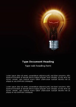 Light Bulb Word Template, Cover Page, 03218, Business Concepts — PoweredTemplate.com