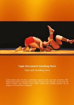 Wrestlers Word Template, Cover Page, 03231, Sports — PoweredTemplate.com