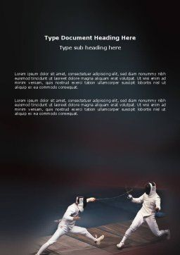 Fencing Bout Word Template, Cover Page, 03232, Sports — PoweredTemplate.com