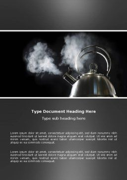 Boiling Kettle Word Template, Cover Page, 03235, Business Concepts — PoweredTemplate.com