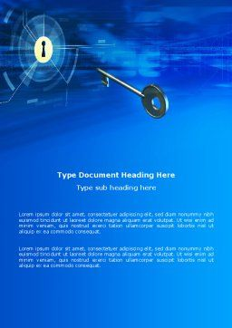 Key Of Blue Door Word Template, Cover Page, 03237, Technology, Science & Computers — PoweredTemplate.com