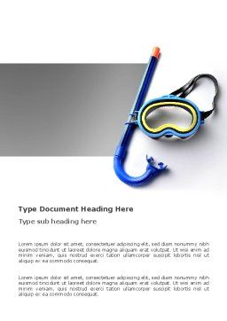 Diving Mask Word Template, Cover Page, 03239, Sports — PoweredTemplate.com