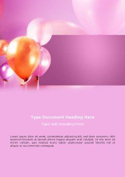 Balloons Word Template, Cover Page, 03250, Holiday/Special Occasion — PoweredTemplate.com