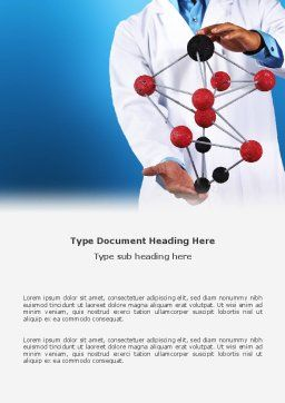 Molecule Model Of Hydrocarbon Word Template, Cover Page, 03257, Technology, Science & Computers — PoweredTemplate.com