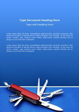 Pocket Knife Word Template, Cover Page, 03272, Utilities/Industrial — PoweredTemplate.com
