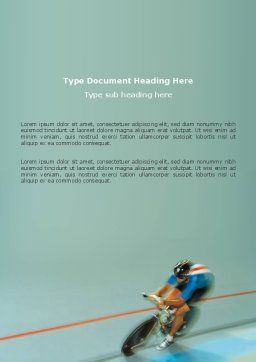 Racing On A Cycle Word Template, Cover Page, 03280, Sports — PoweredTemplate.com