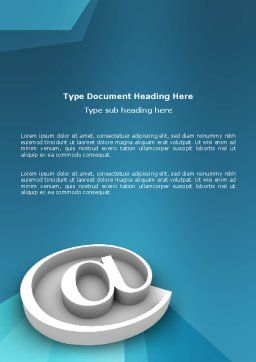 At Sign Word Template, Cover Page, 03284, 3D — PoweredTemplate.com