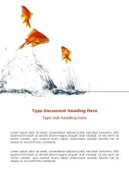 Jumping Goldfish Word Template, Cover Page, 03286, Agriculture and Animals — PoweredTemplate.com