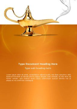 Genie Lamp Word Template, Cover Page, 03289, Abstract/Textures — PoweredTemplate.com